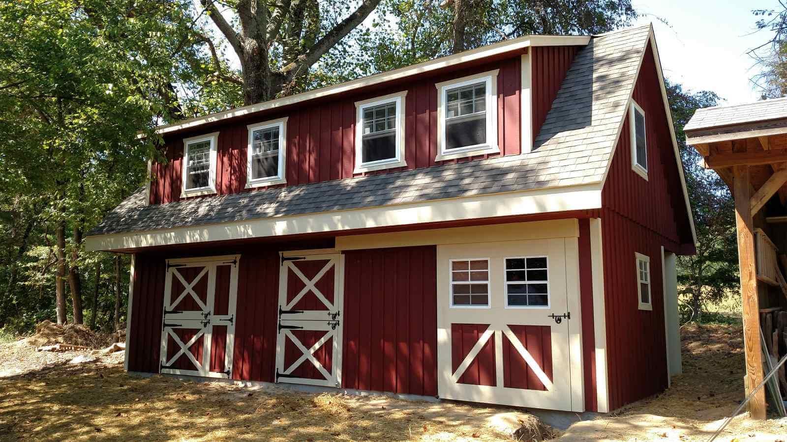 2 story red barn - Horse Barns of Virginia
