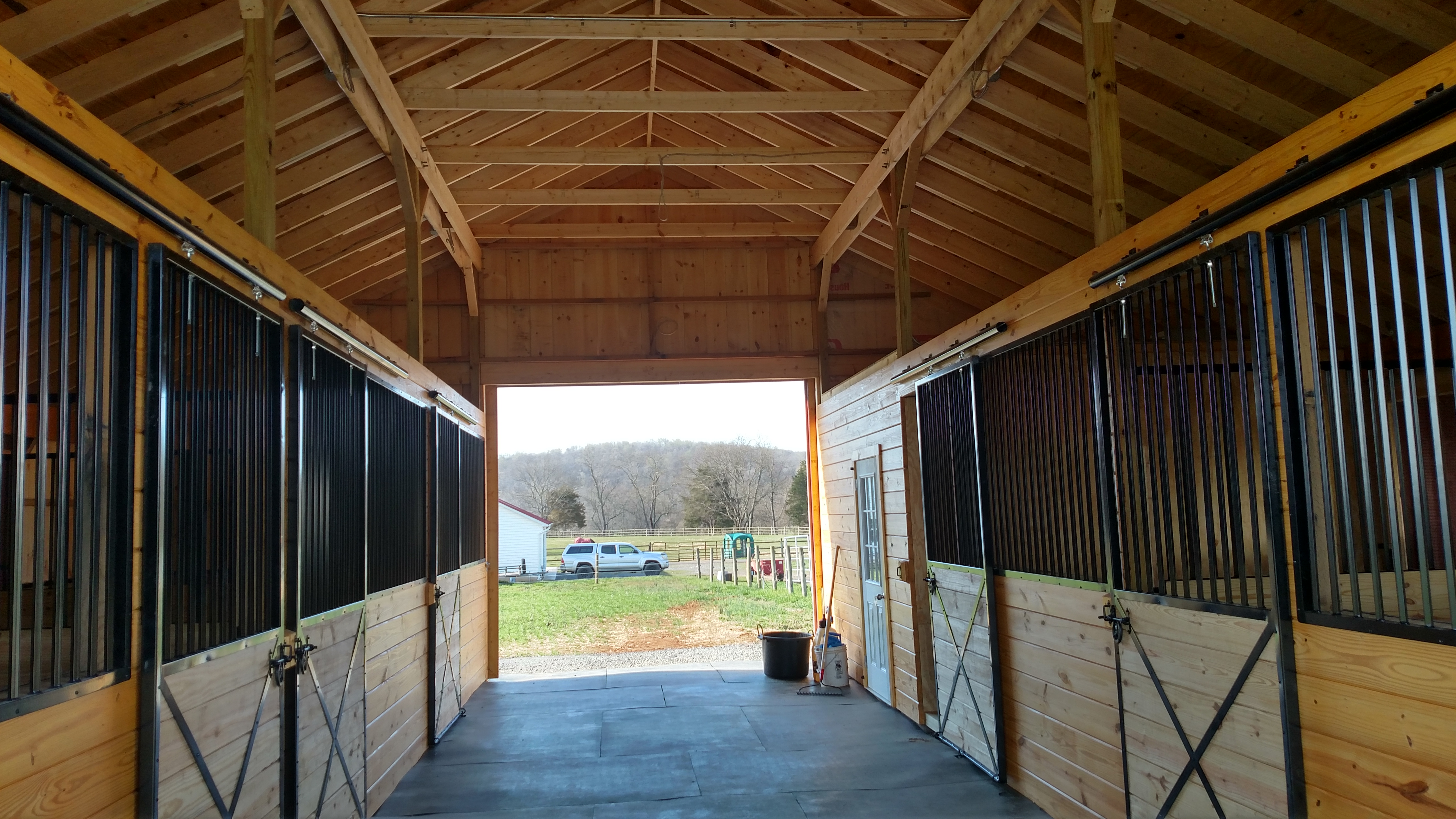 This is a 5 stall 36x36 barn with large tack room.
